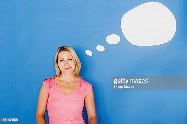 Woman with thought bubble