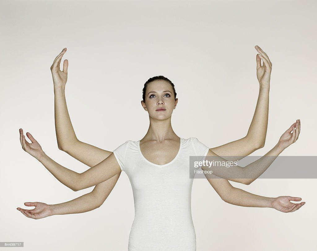 Woman with three pairs of arms and hands : Stock Photo