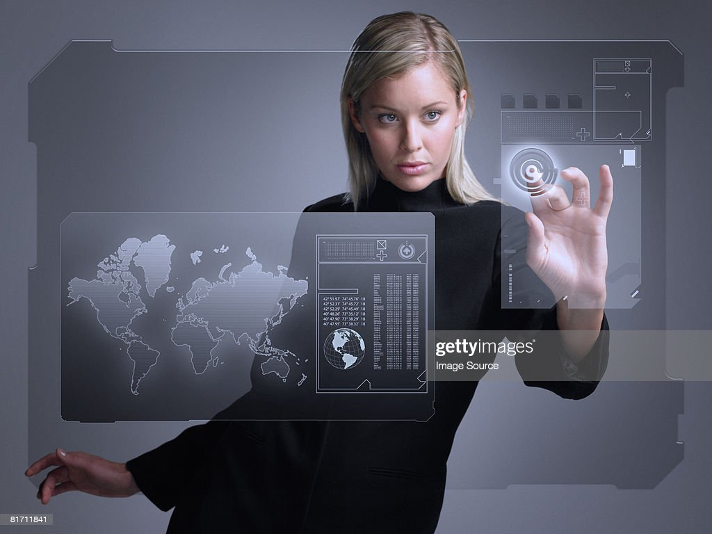 Woman with touch screen