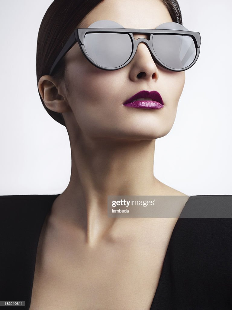 trendy optical glasses  Woman With Trendy Eyewear Stock Photo