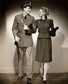 Woman with U S Army officer