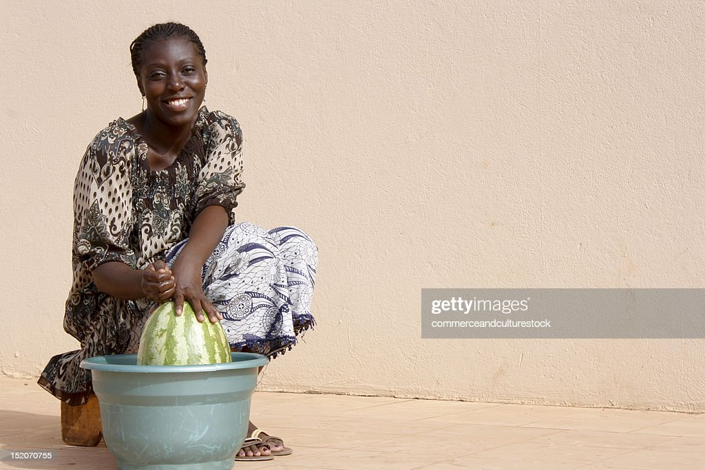 woman with watermelon : Stock Photo