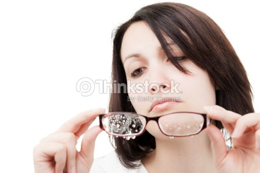 Woman with Wet Glasses : Stock Photo