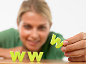 Woman with world wide web letters