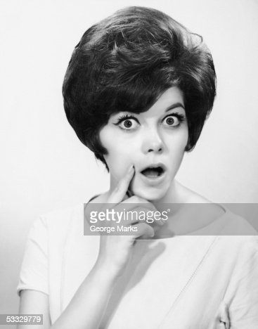 Woman w/mouth open in surprise : Stock Photo