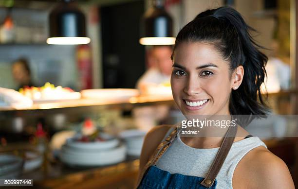 Woman working as a waitress at a coffee shop