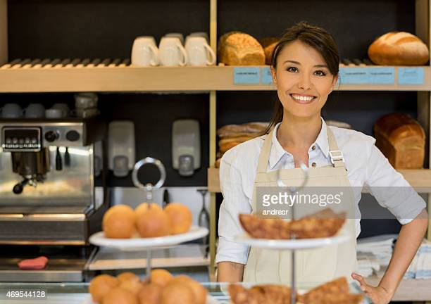 Woman working at a bakery