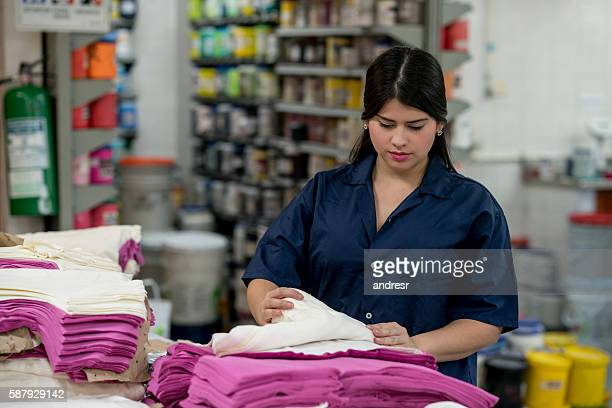 Woman working at a clothing factory