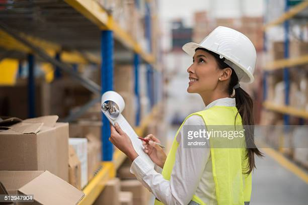 Woman working at a distribution warehouse
