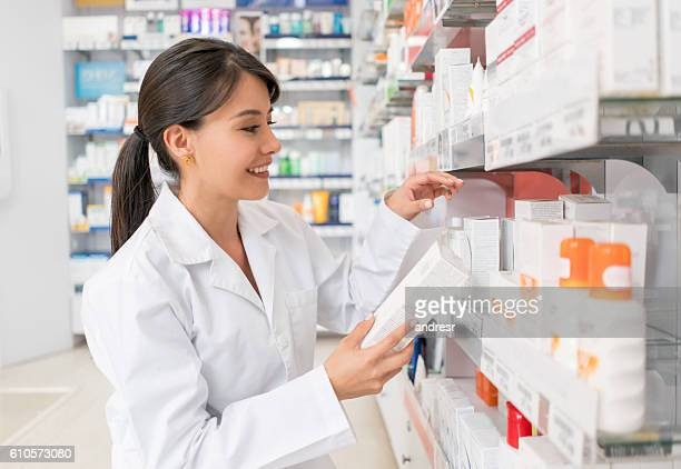 Woman working at a drugstore