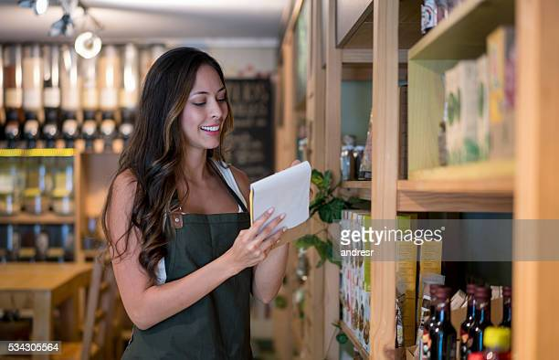 Woman working at a food store