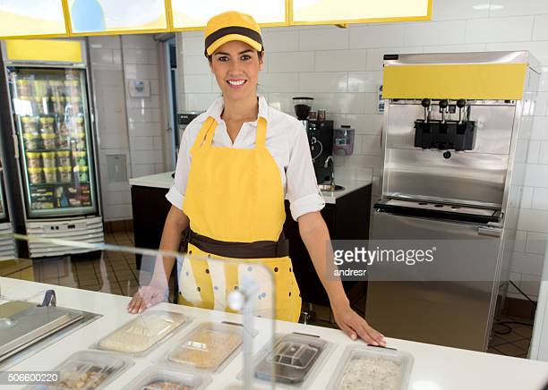 Woman working at an ice cream shop