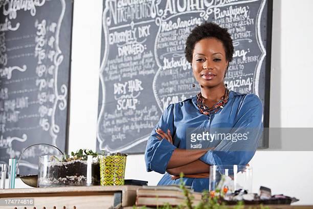 Woman working at beauty salon