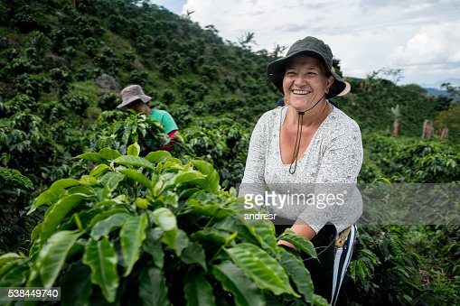 Woman working at Colombian coffee farm