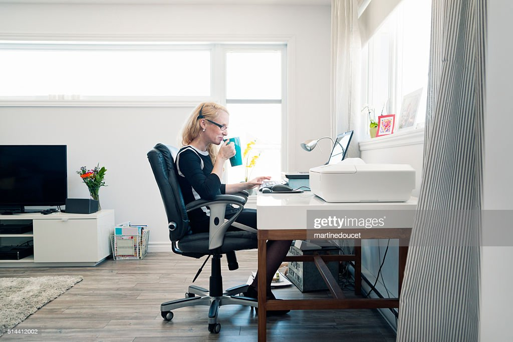 Woman Working From Home Office Monochrome With Copyspace Stock