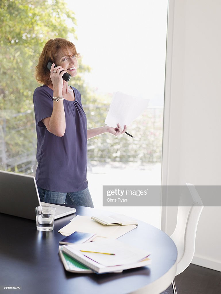 Woman working from home : Stock Photo