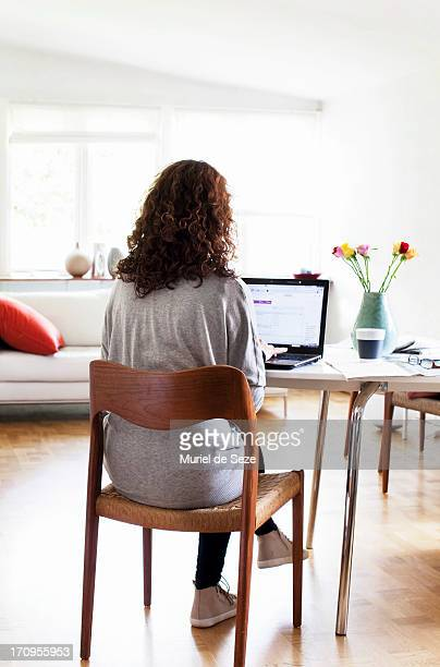 Woman working home