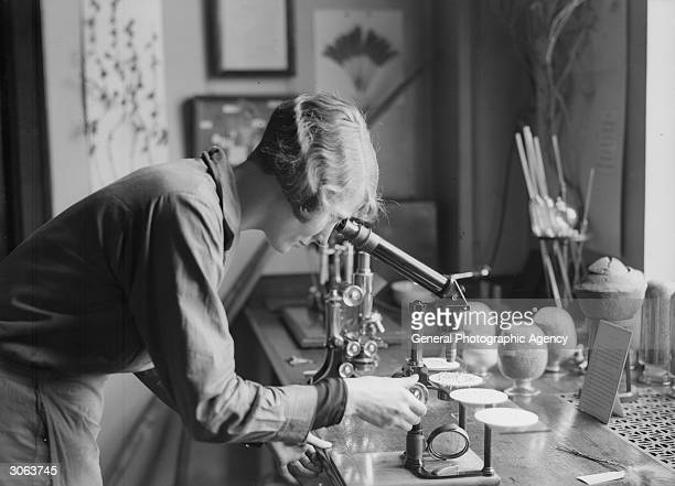 A woman working in a laboratory researching plants