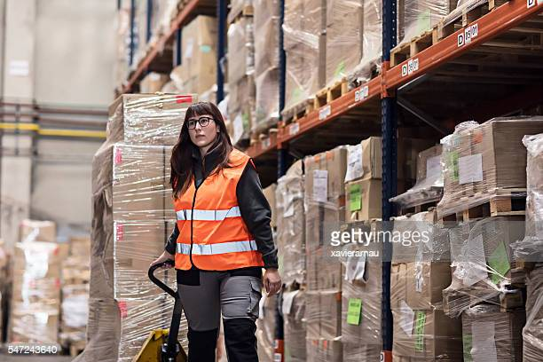 Woman working in a warehouse