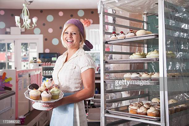 Woman working in bakery