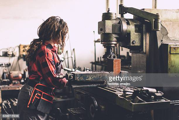 Woman working in production
