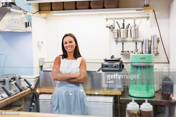 Woman working in waffle shop