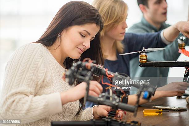 Woman Working on a Drone Project