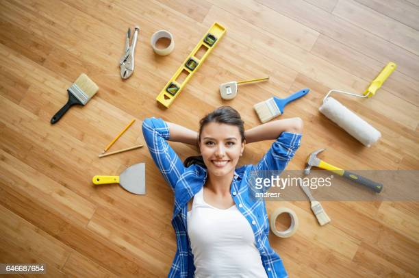 Woman working on a housing project