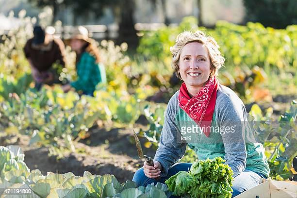 Femme travaillant à la ferme biologique cueillette de légumes