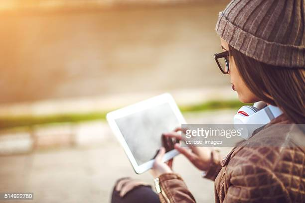 Woman working on tablet