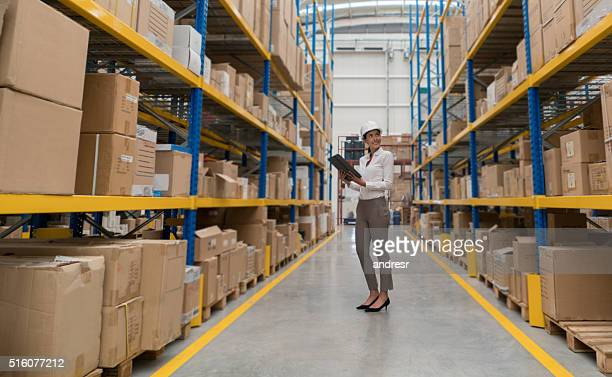Woman working on the freight transportation business