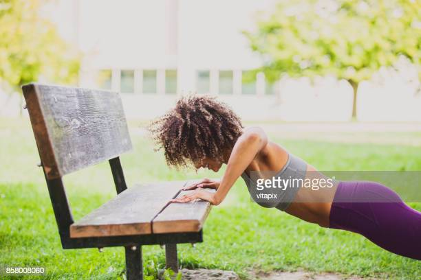Woman Working Out at the park