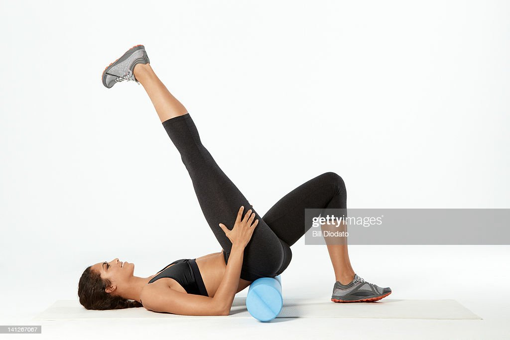 WOman Working out on white background : Stock Photo