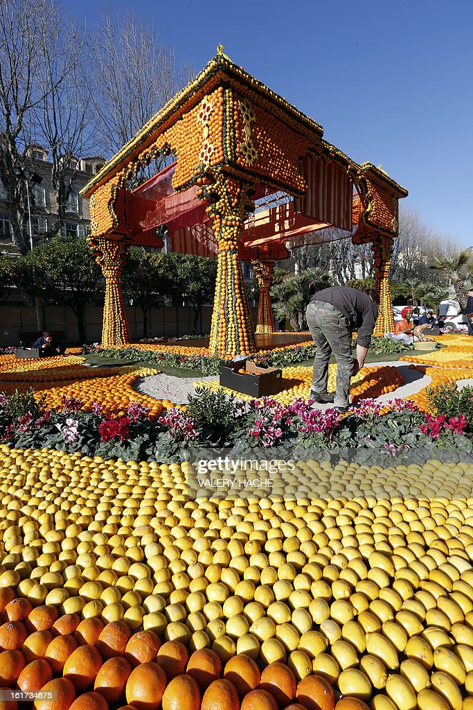 A woman works on 'Massif de l'Inde' a sculpture made of oranges and lemons, on February 15, 2013 in Menton on the French Riviera, ahead of the start of the 'Fete du Citron' (lemon carnival). The theme of this 80th edition, running from February 16 until March 6, 2013, is 'Le Tour du monde en 80 jours' (80 days around the world).