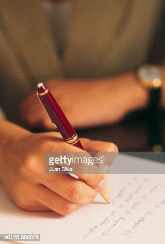 Woman Writing : Stock Photo