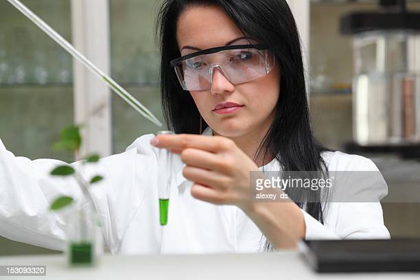 Woman-microbiologist working in laboratory
