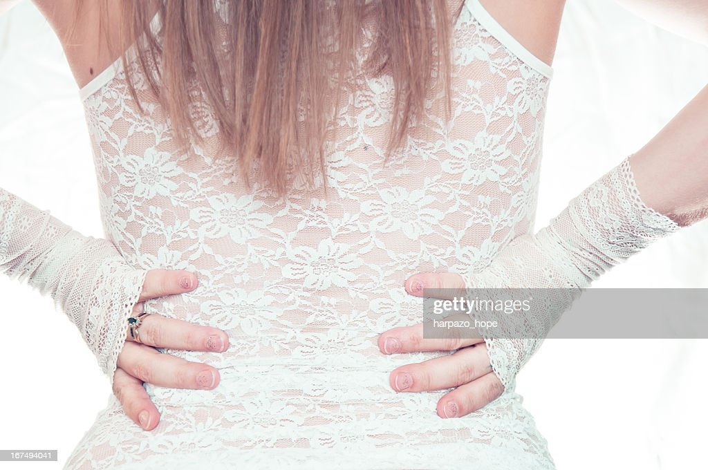 Woman's back in lace