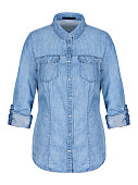 Womans blue denim shirt on invisible mannequin isolated on white