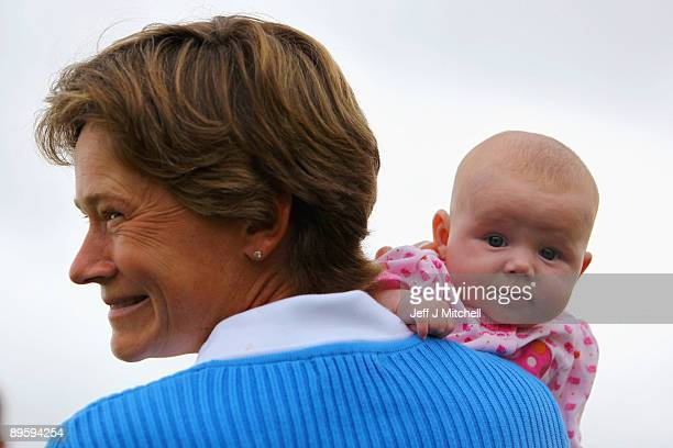 Woman's British Open winner Catriona Matthew is photographed with her 11 week old daughter Sophie at Archerfield Links golf club on August 4 2009 in...