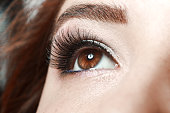 close up of beautiful woman's eye with long lashes