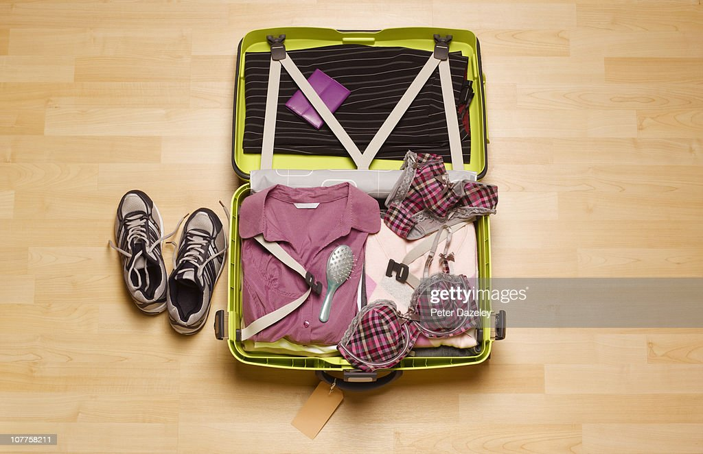 Woman's business suitcase from above
