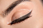 Woman's closed eye with eyeliner