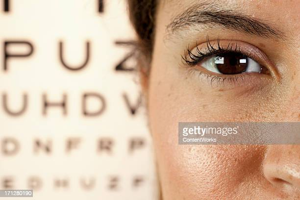 Woman's eye close-up with an eye test in the background