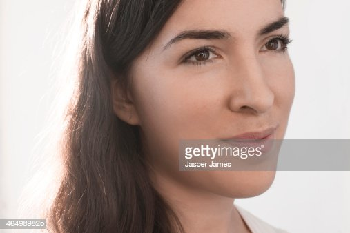 woman's face against whiite background : Stock Photo