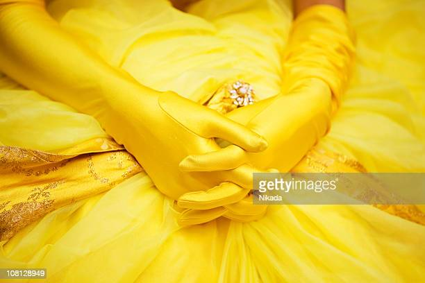 Woman's Gloved Hands Laying on Dress