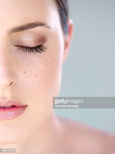 Woman's half face