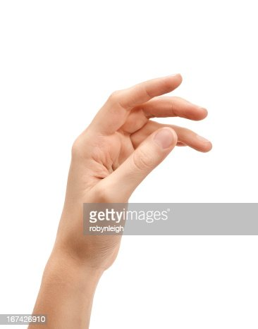 Woman's hand against white background : Stock Photo