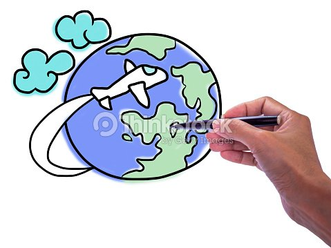 womans hand drawing travel around the world illustration on