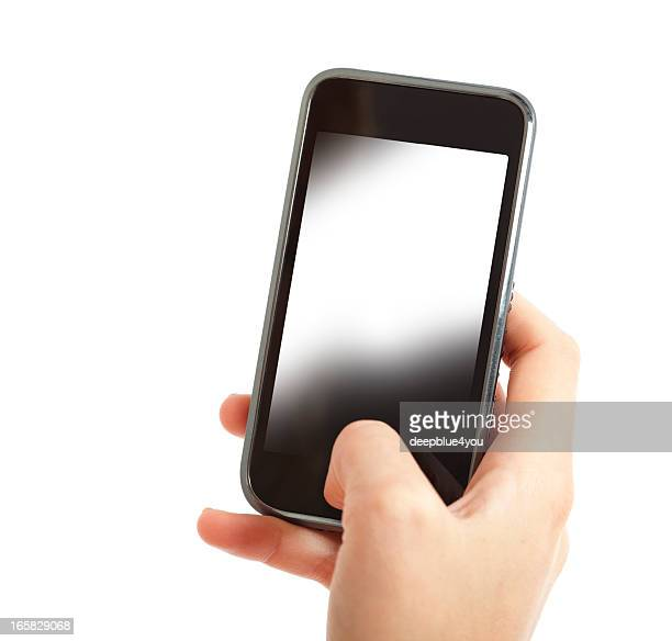 Woman`s hand holding white screen smart phone
