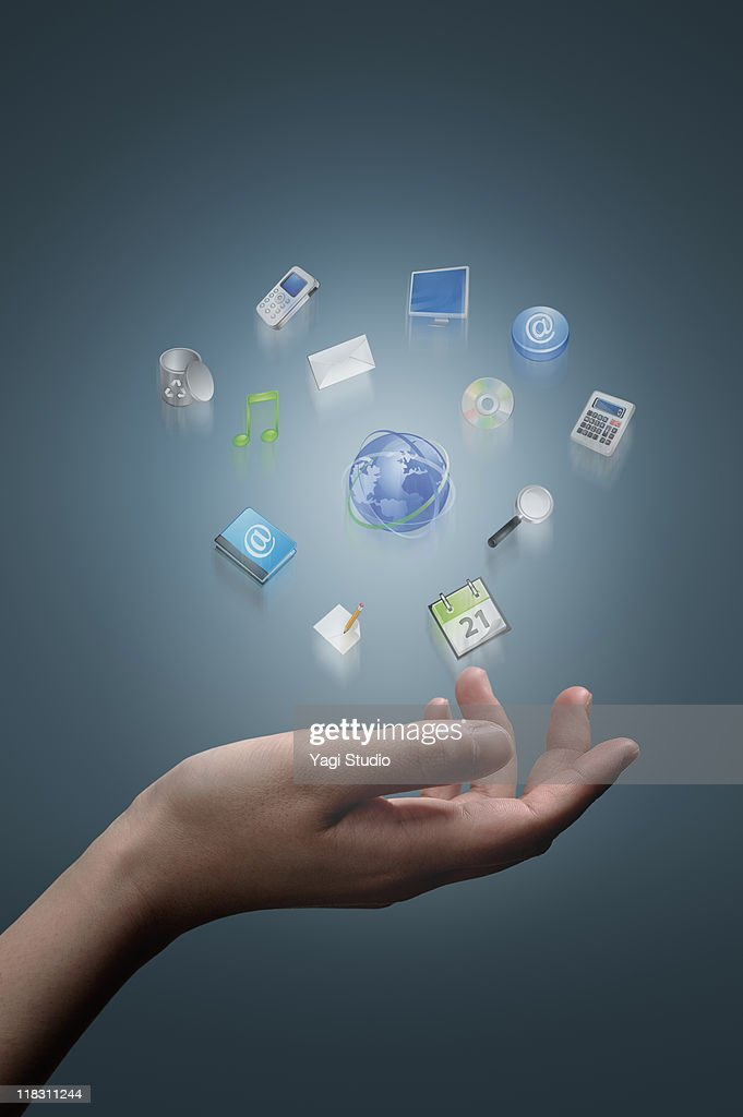 A woman's hand  operating on digital technology
